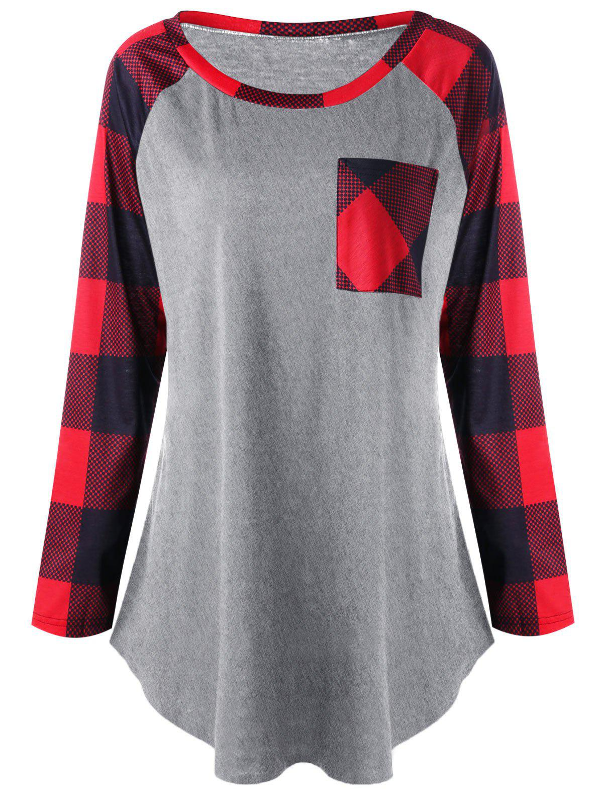Plus Size Single Pocket Plaid T-shirt - HEATHER GRAY 2XL