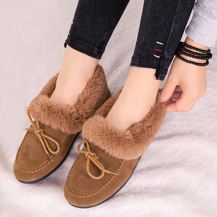 Faux Fur Trim Bowknot Front Flat Shoes - CAMEL 36