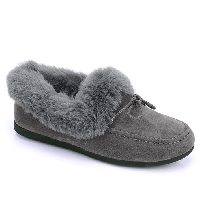 Faux Fur Trim Bowknot Front Flat Shoes - GRAY 35