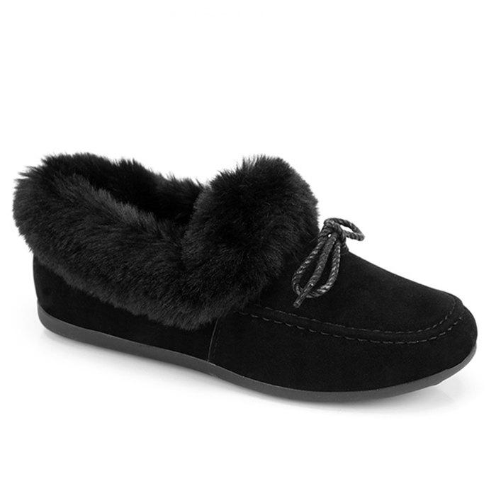 Faux Fur Trim Bowknot Front Flat Shoes - BLACK 35