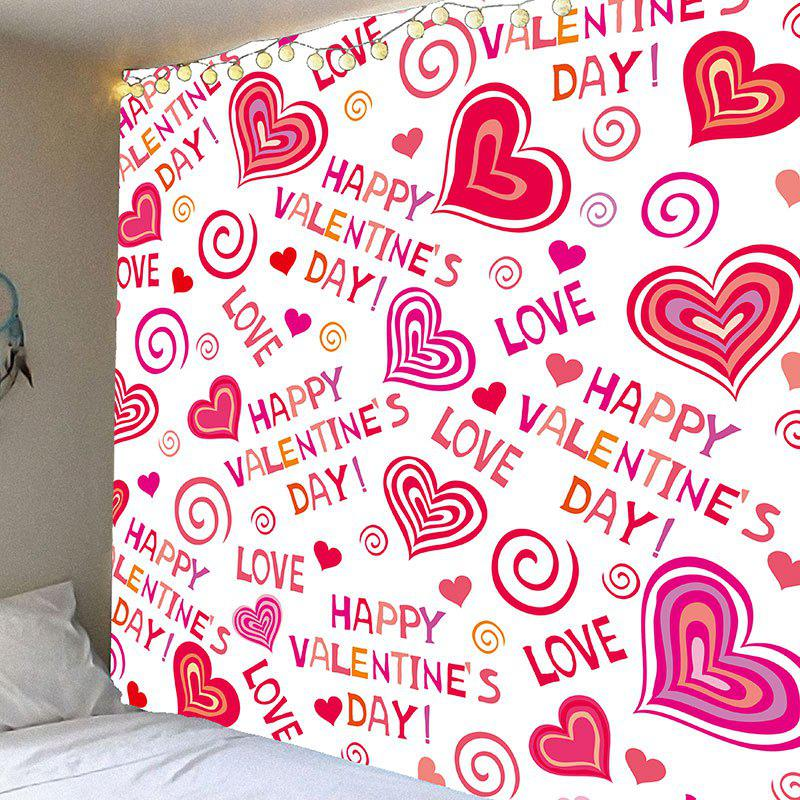 Valentine's Day Full Heart Printed Wall Art Decor Hanging Tapestry valentine s day wine glass heart printed wall art tapestry