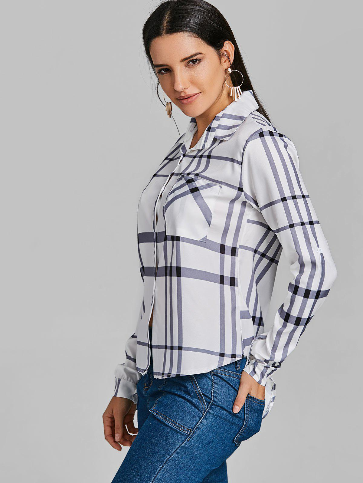 Pocket Tunic Plaid Shirt - WHITE L