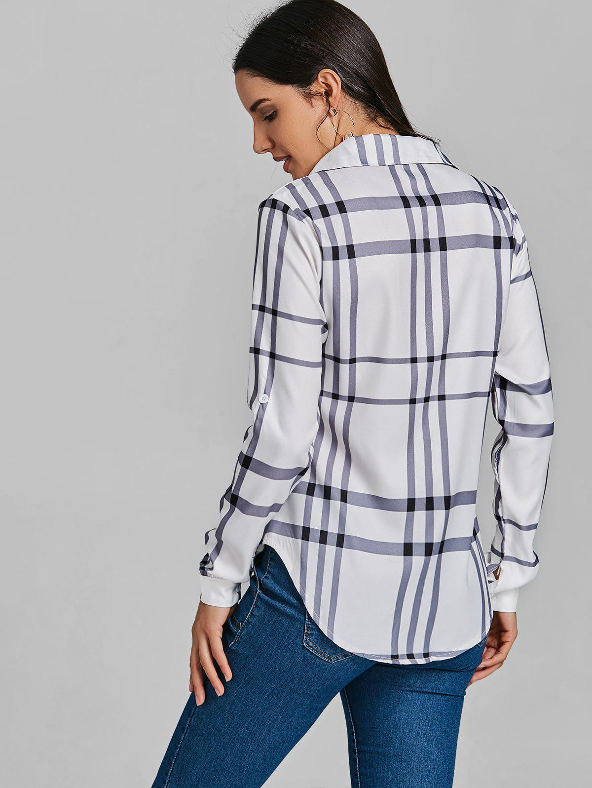 Pocket Tunic Plaid Shirt - WHITE XL