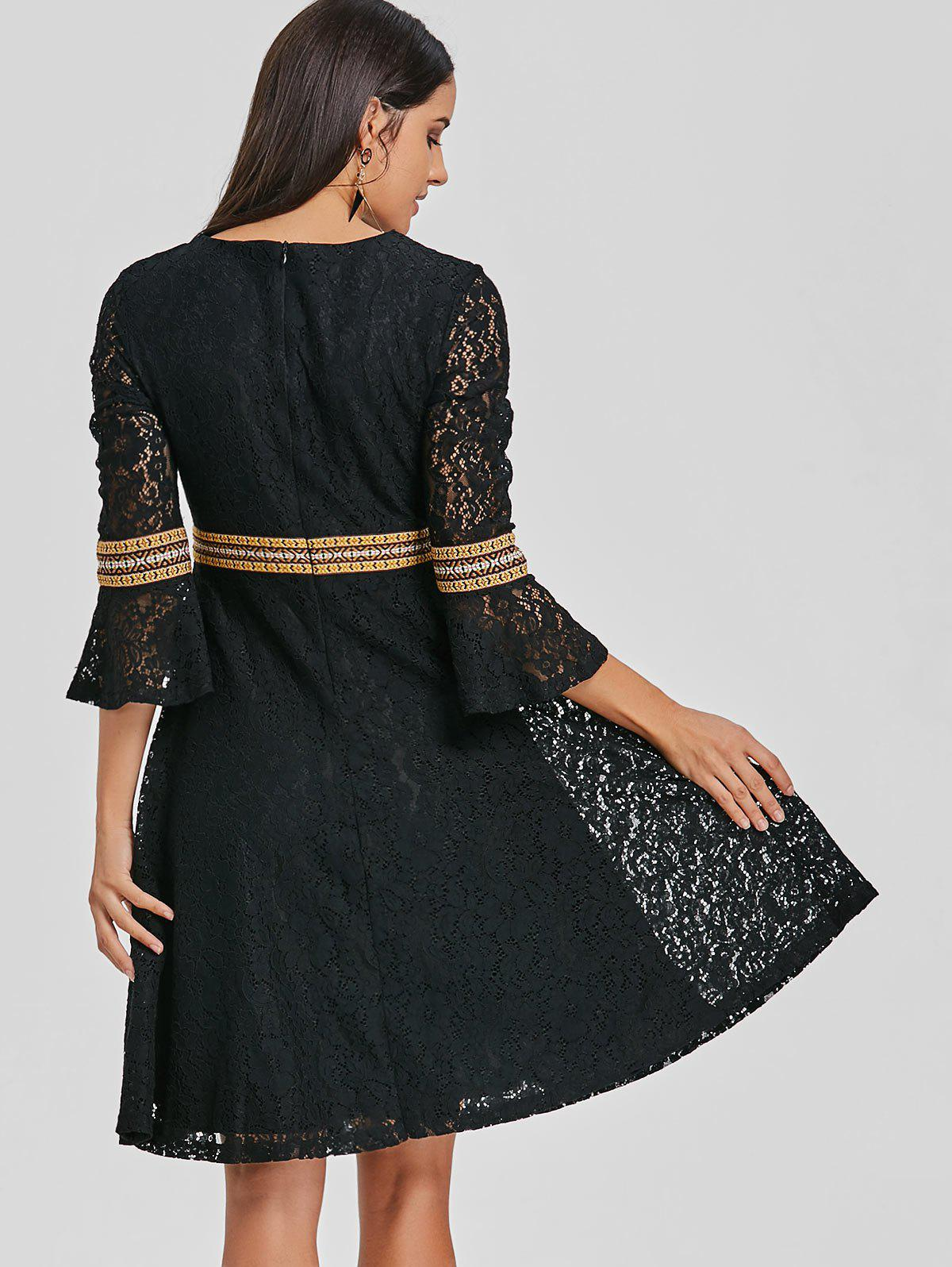 Embroidered Bell Sleeve Lace A Line Dress - BLACK 2XL