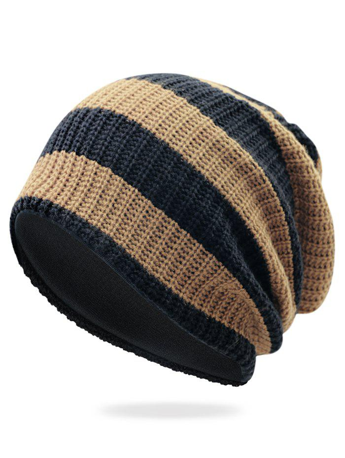 Striped Pattern Decorated Crochet Knitting Slouchy Beanie - KHAKI
