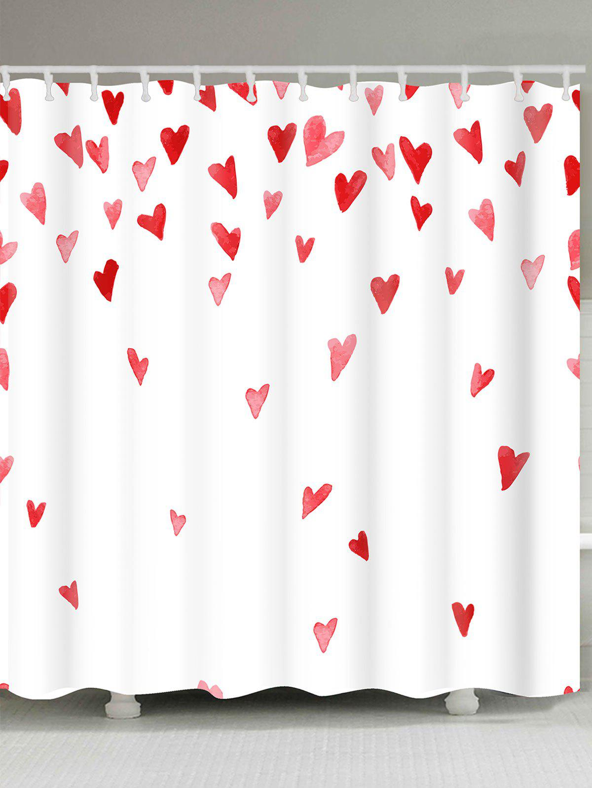 2018 Valentine\'s Day Heart of Love Printed Shower Curtain WHITE ...