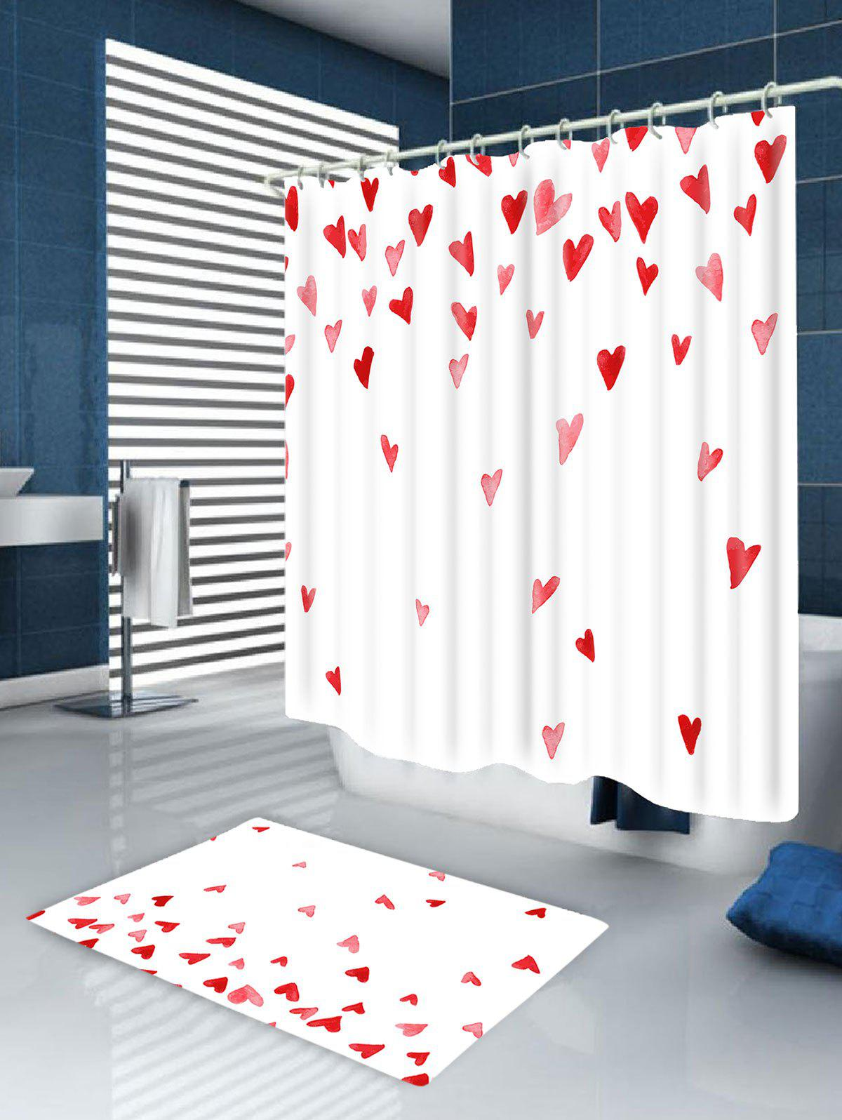 Heart of Love Printed Bath Room Shower Curtain - WHITE/RED W71 INCH * L71 INCH