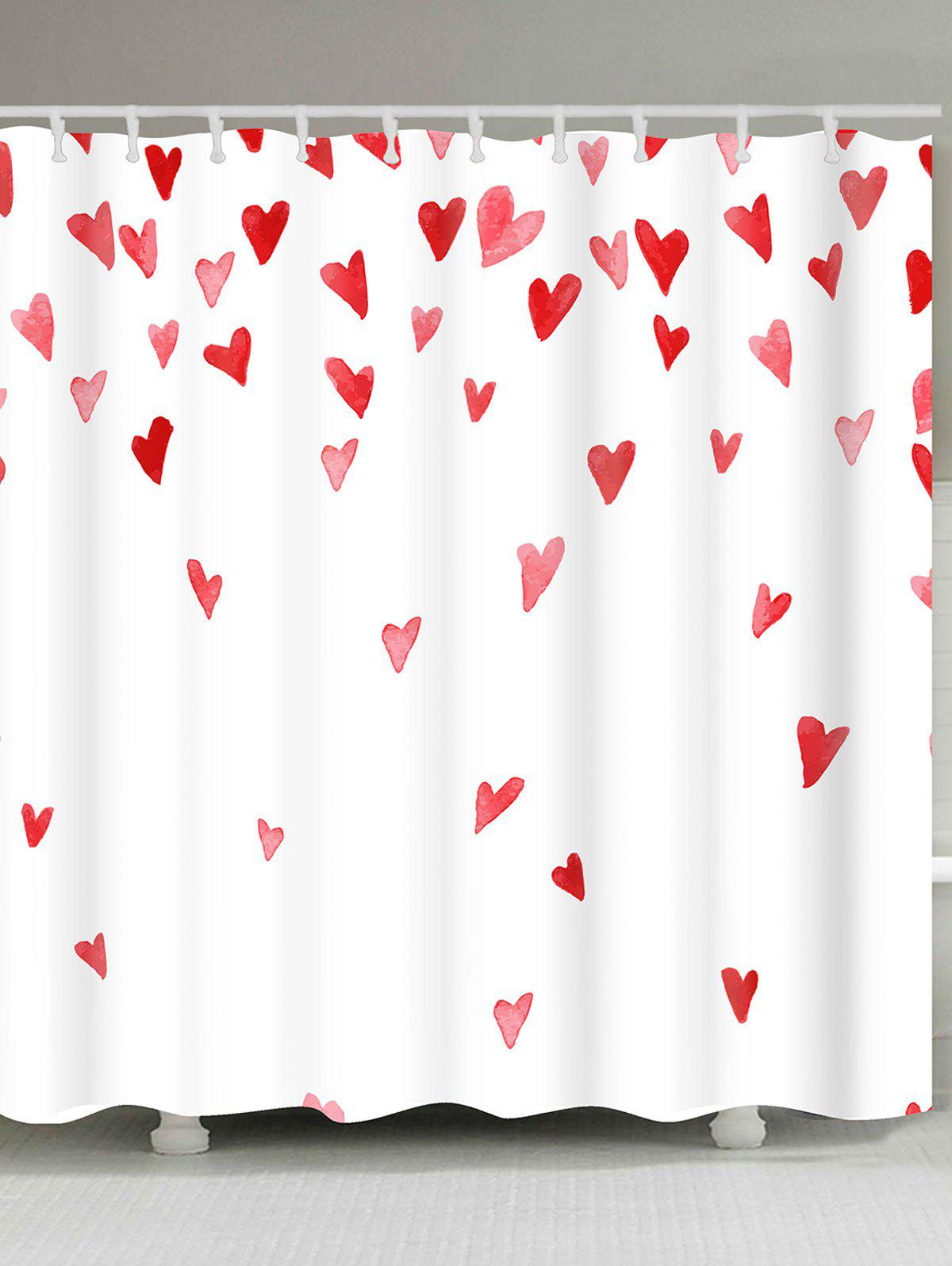 Valentine's Day Heart of Love Printed Shower Curtain, White and red