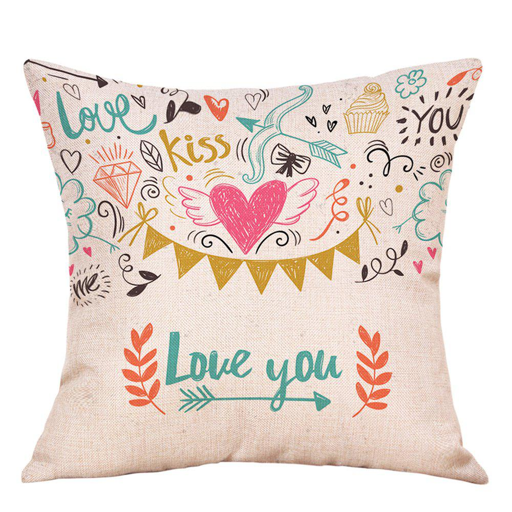 Valentine's Day Theme Print Linen Sofa Pillowcase the student forum