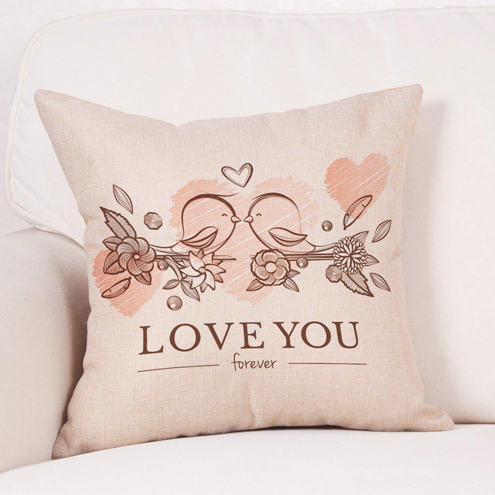 Valentine's Day Birds Lovers Print Linen Sofa Pillowcase - COLORMIX W18 INCH * L18 INCH