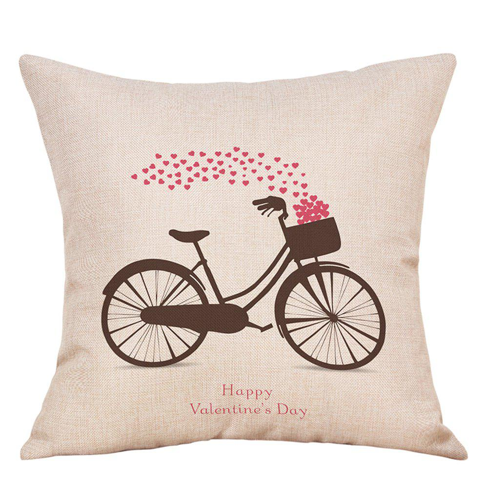 Bike Hearts Print Valentine's Day Linen Sofa Pillowcase - COLORMIX W18 INCH * L18 INCH