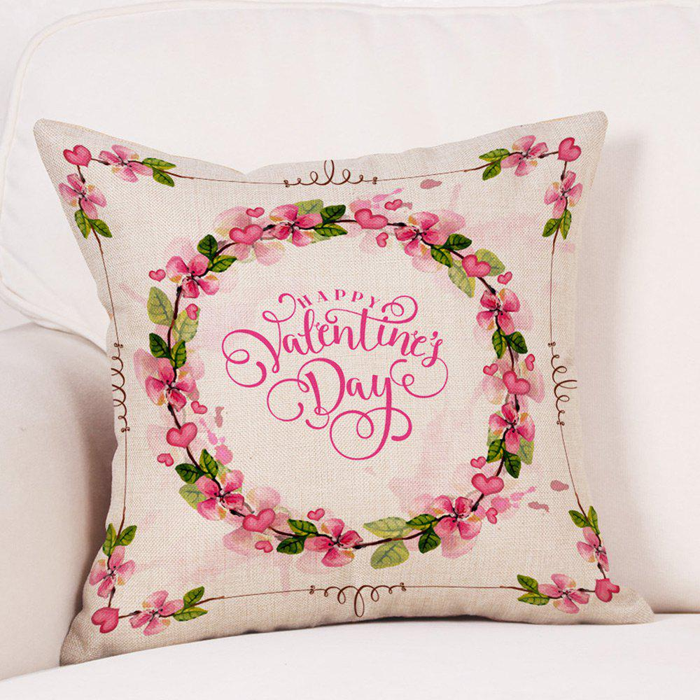 Floral Print Valentine's Day Linen Sofa Pillowcase - COLORMIX W18 INCH * L18 INCH