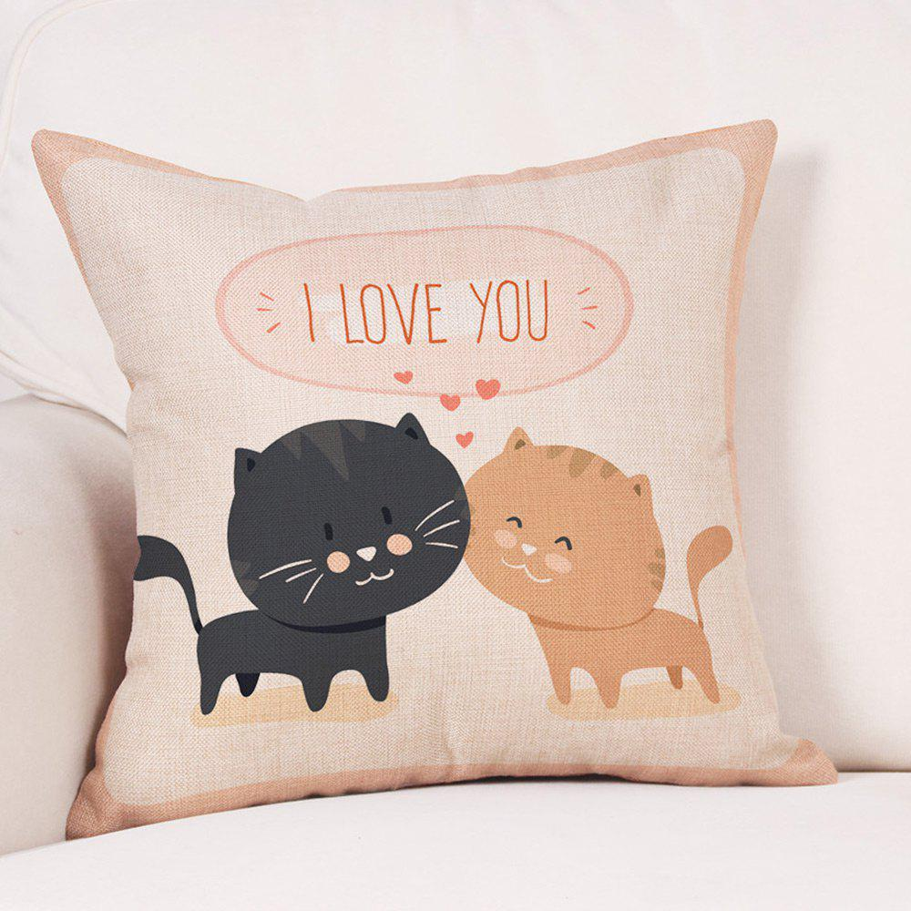 Cats Lovers Print Valentine's Day Linen Sofa Pillowcase - COLORMIX W18 INCH * L18 INCH