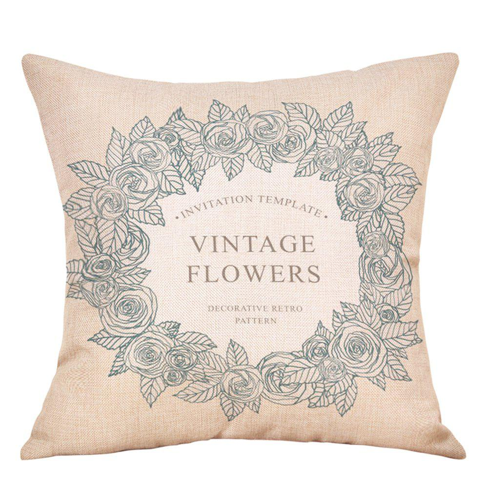 Wreath Print Valentine's Day Linen Sofa Pillowcase - COLORMIX W18 INCH * L18 INCH