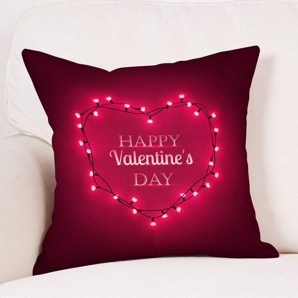 String Light Heart Print Valentine's Day Linen Sofa Pillowcase - COLORMIX W18 INCH * L18 INCH