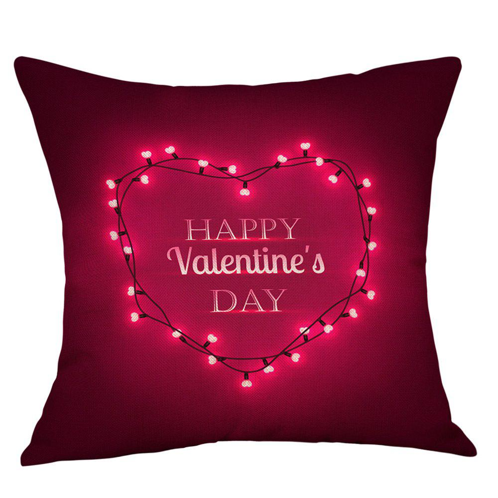 String Light Heart Print Valentine's Day Linen Sofa Pillowcase dls mb6i white
