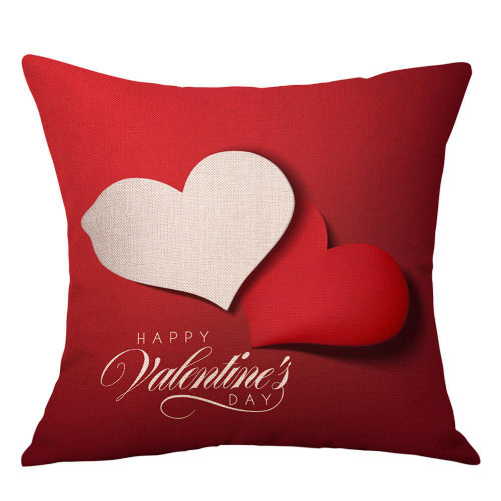 Hearts Greeting Print Valentine's Day Linen Sofa Pillowcase - RED W18 INCH * L18 INCH