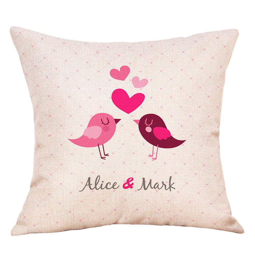 Birds Heart Print Valentine's Day Linen Sofa Pillowcase - COLORMIX W18 INCH * L18 INCH