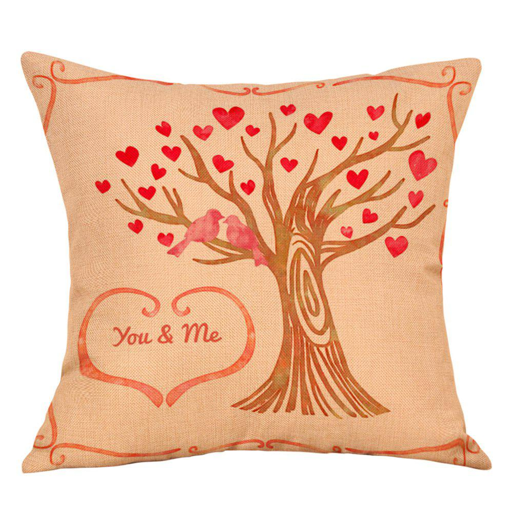 Hearts Tree Print Valentine's Day Linen Sofa Pillowcase - COLORMIX W18 INCH * L18 INCH