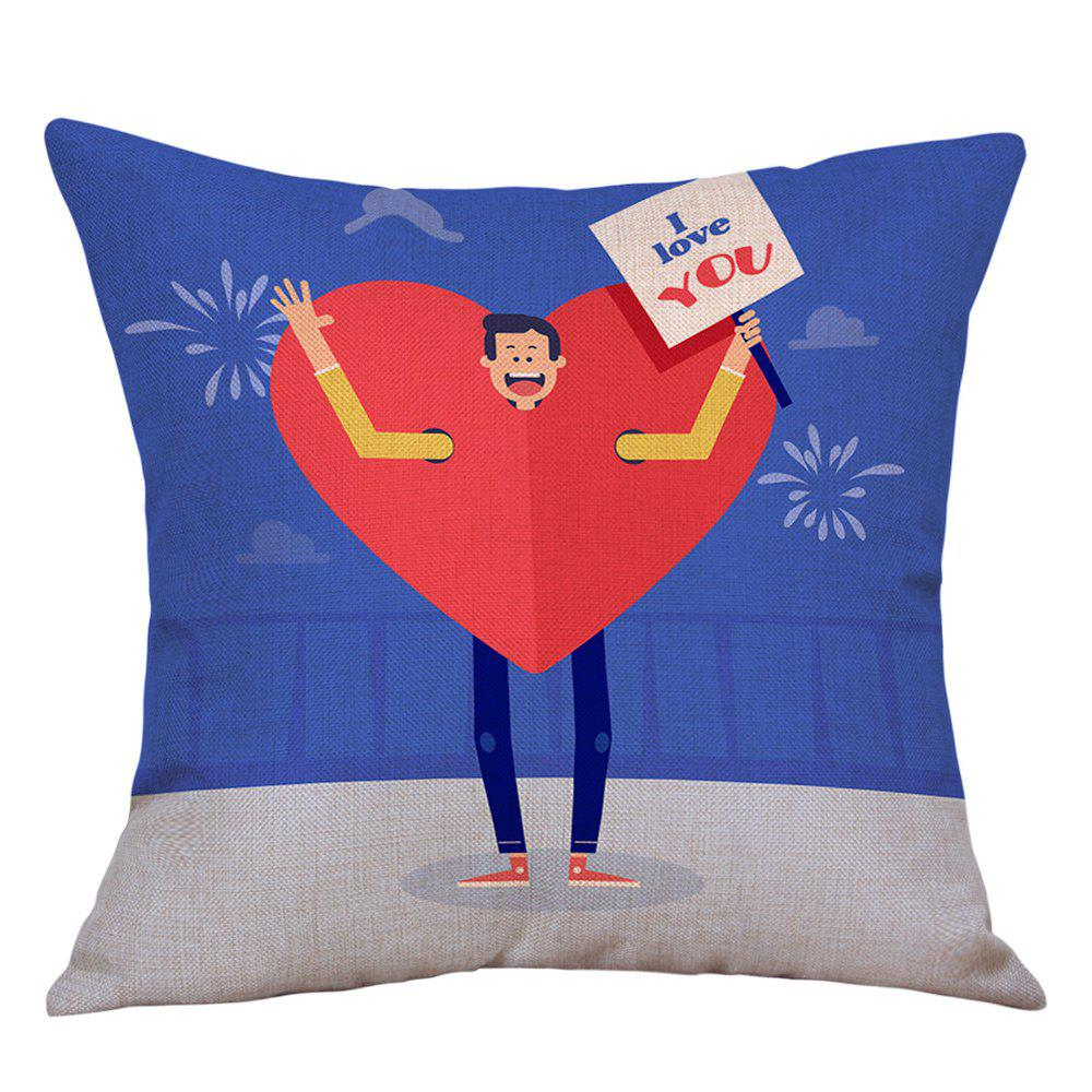 A Man Showing Love Print Valentine's Day Linen Sofa Pillowcase - COLORMIX W18 INCH * L18 INCH