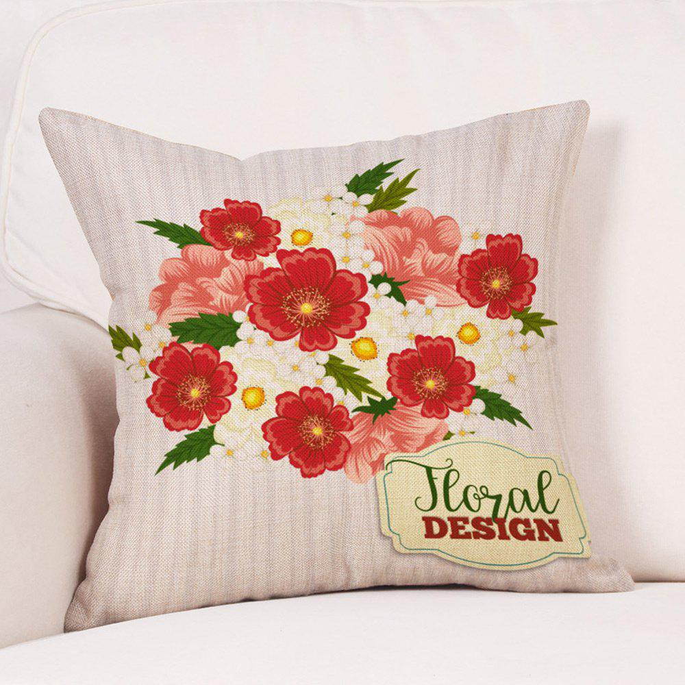 Flowers Print Valentine's Day Linen Sofa Pillowcase - COLORMIX W18 INCH * L18 INCH