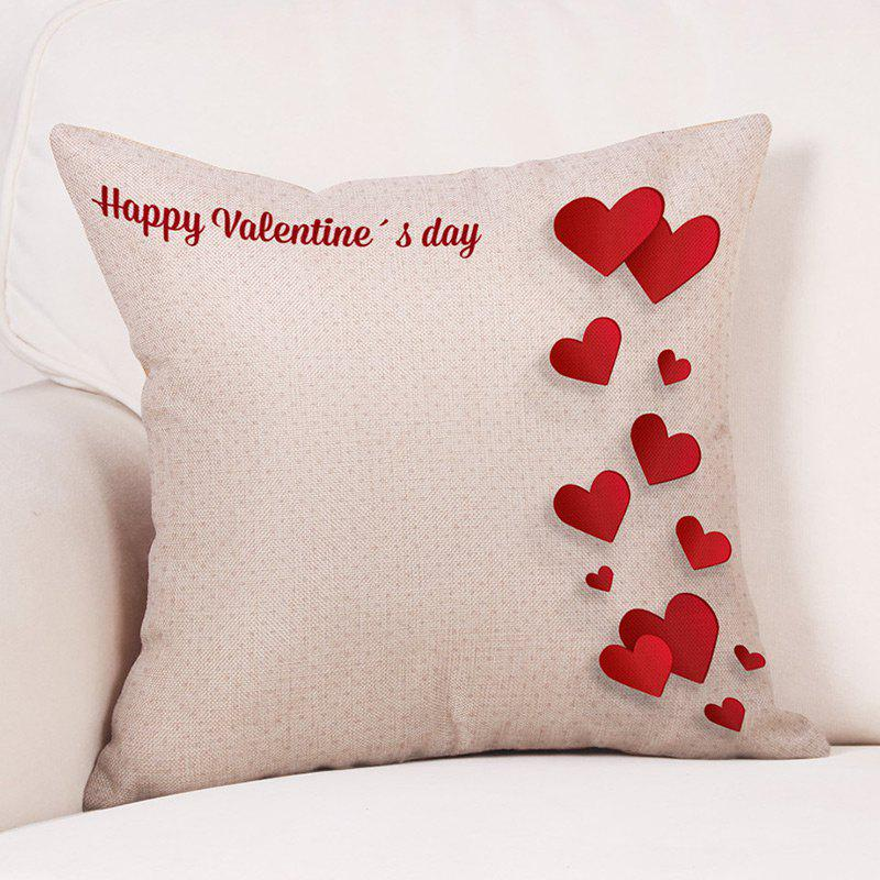 Hearts Print Linen Valentine's Day Pillowcase - RED W18 INCH * L18 INCH