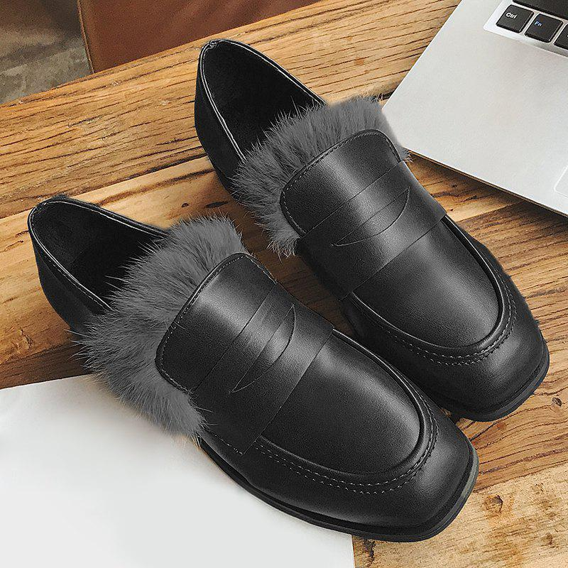 Faux Fur Trim Square Toe Loafers - BLACK 36