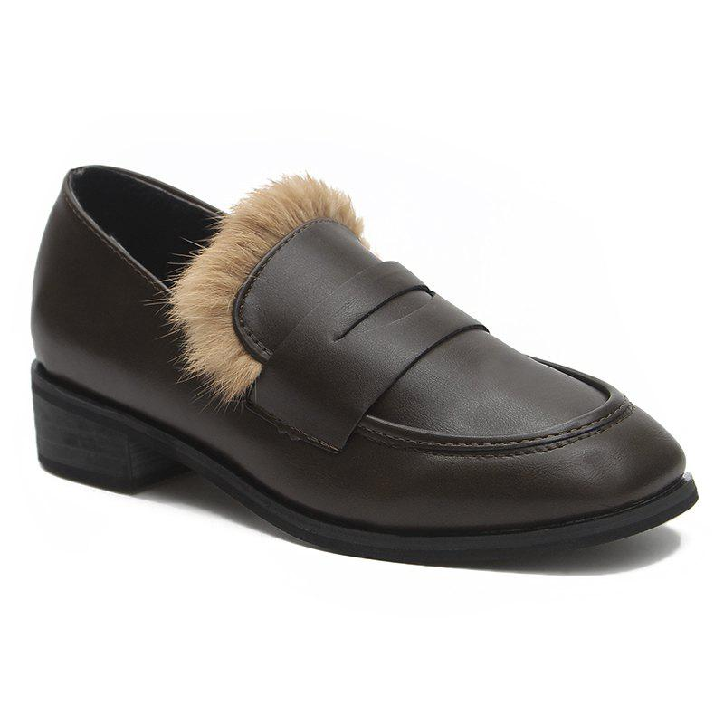 Faux Fur Trim Square Toe Loafers - DEEP BROWN 35