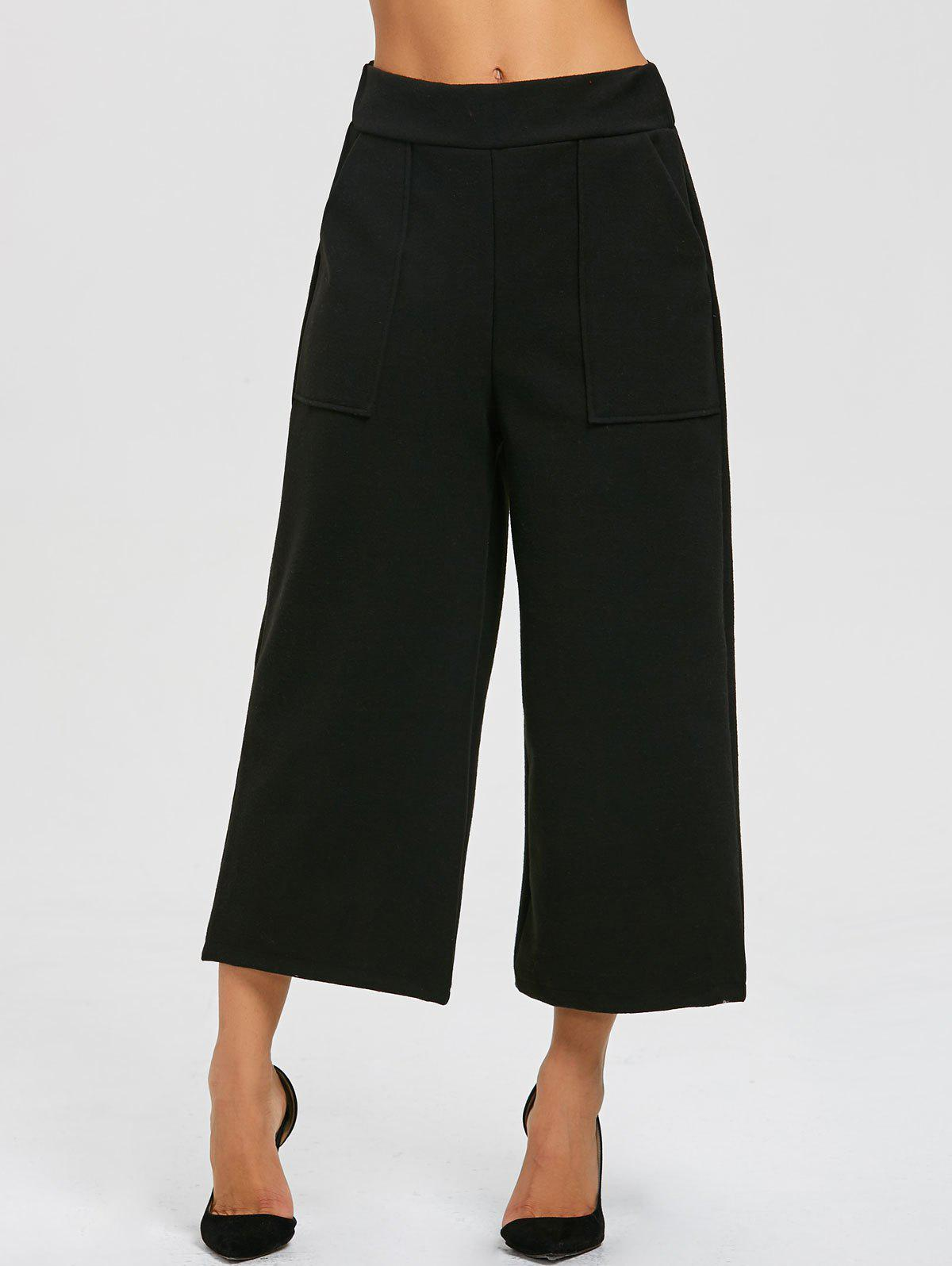 Capri High Waisted Palazzo Pants - BLACK L