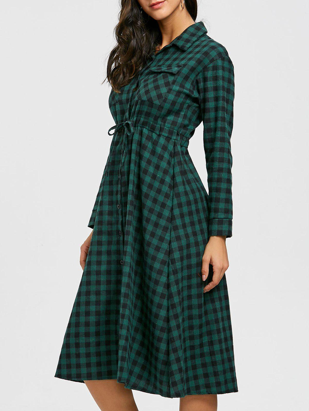 Plaid Long Sleeve Midi Shirt Dress - GREEN L