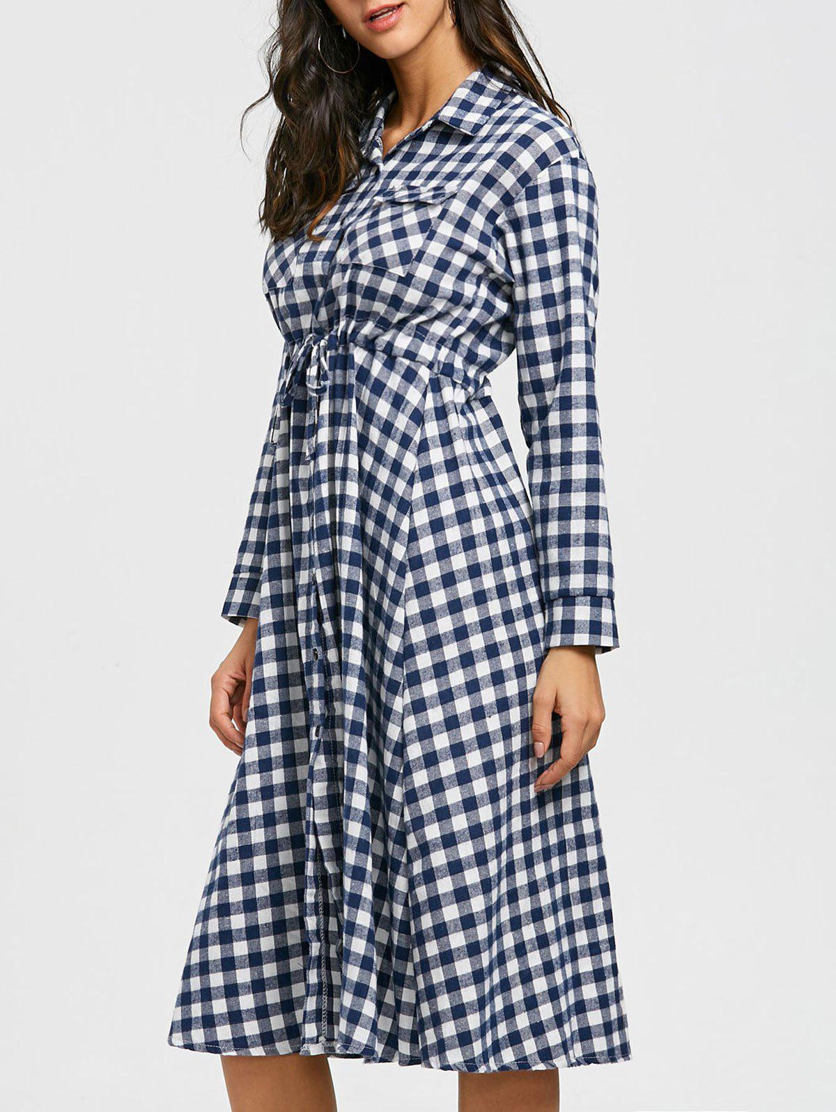 Plaid Long Sleeve Midi Shirt Dress - WHITE M