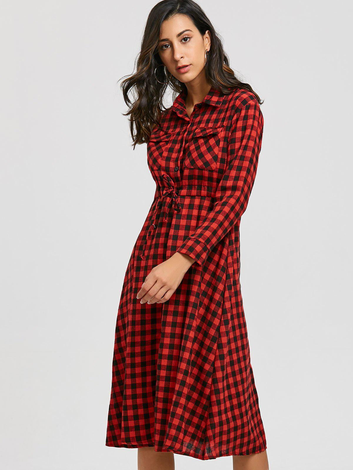 Plaid Long Sleeve Midi Shirt Dress - RED L