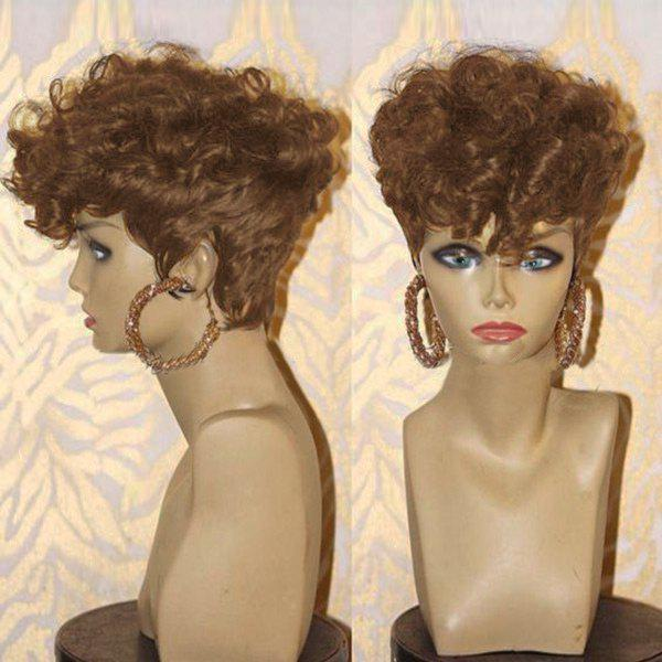Short Side Bang Layered Shaggy Afro Curly Synthetic Wig - BROWN