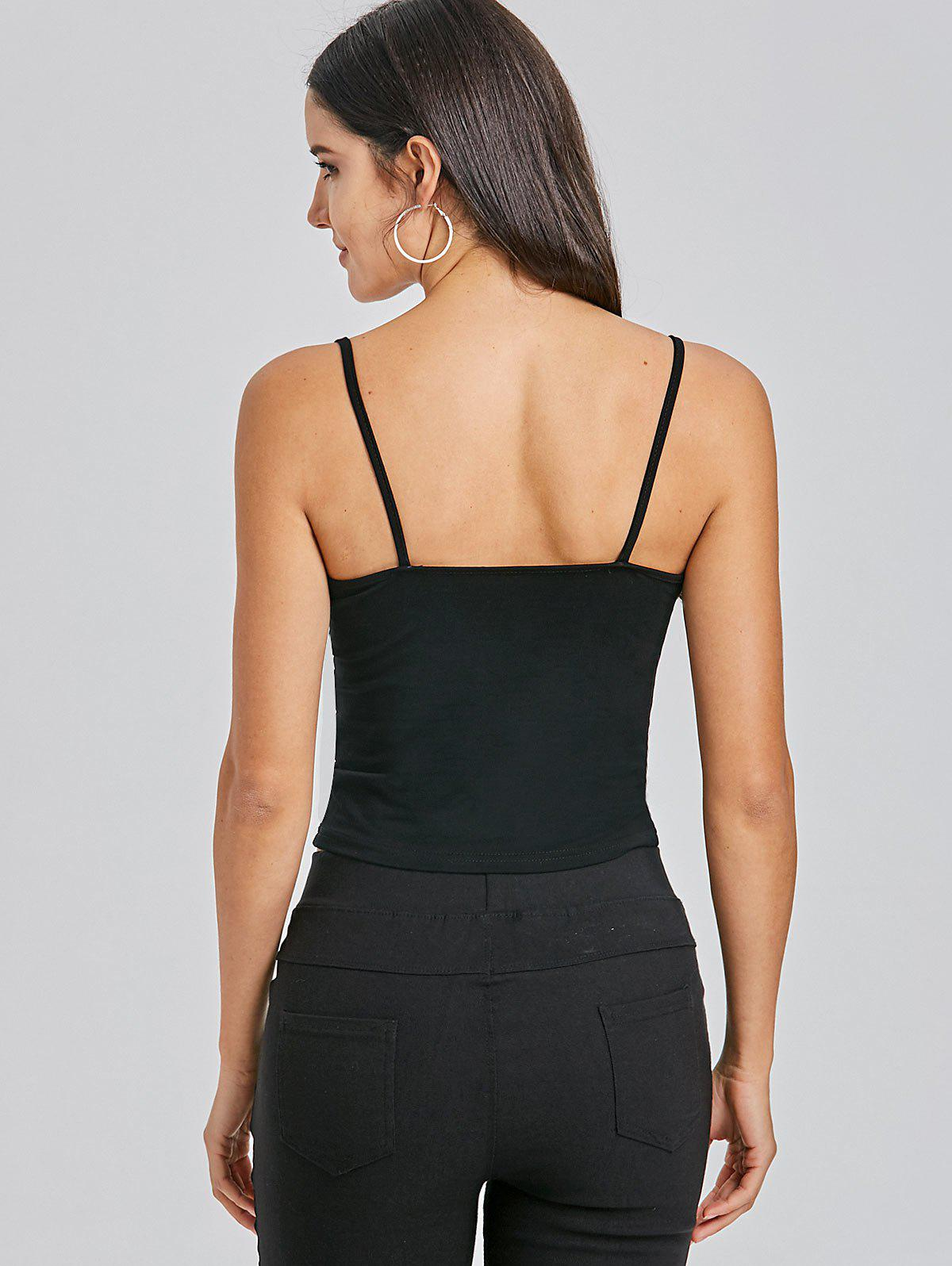 Cami Cropped Snap Button Tank Top - BLACK S