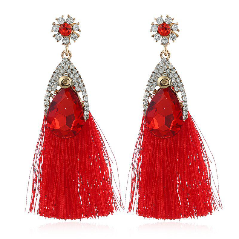 Faux Diamond Inlay Floral Shape Stud Drop Earrings - RED