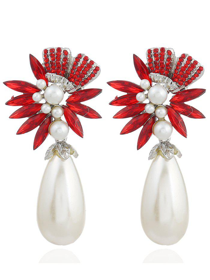 Pair of Floral Shape Rhinestone Artificial Pearl Earrings - RED