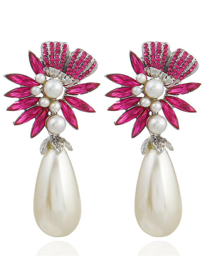 Pair of Floral Shape Rhinestone Artificial Pearl Earrings - TUTTI FRUTTI
