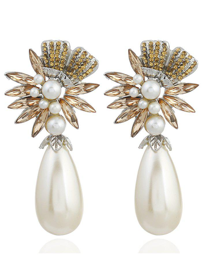 Pair of Floral Shape Rhinestone Artificial Pearl Earrings - YELLOW