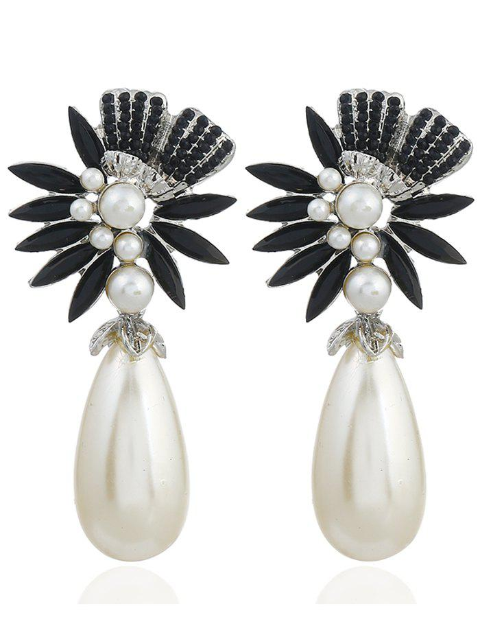 Pair of Floral Shape Rhinestone Artificial Pearl Earrings - BLACK