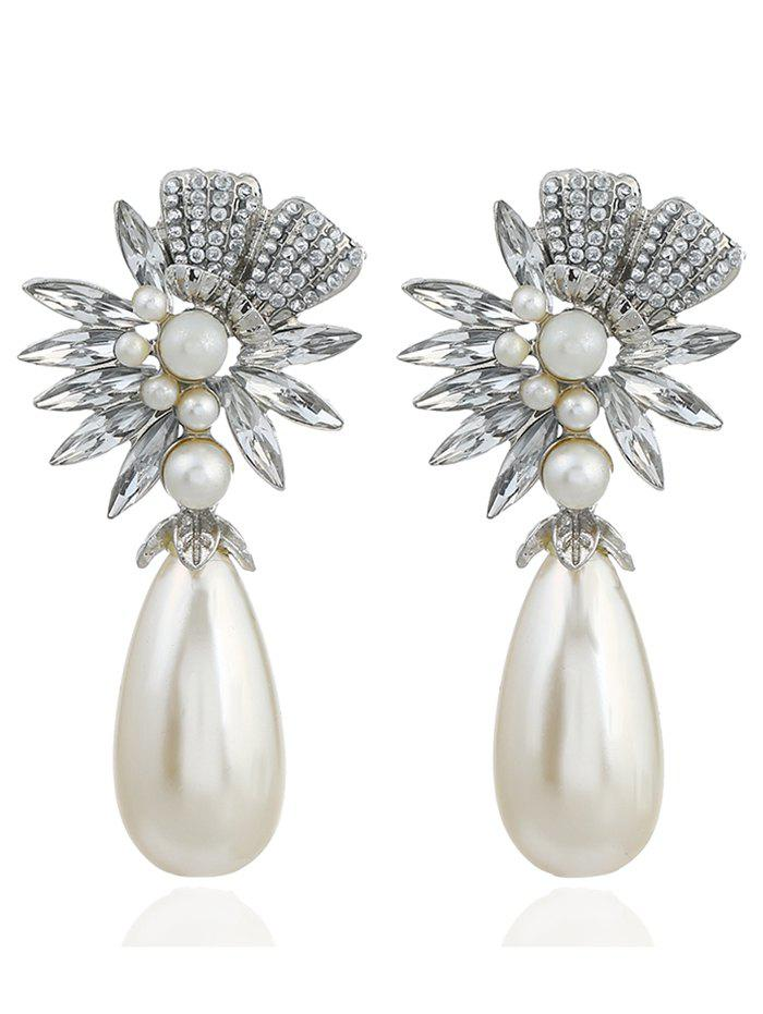Pair of Floral Shape Rhinestone Artificial Pearl Earrings - WHITE