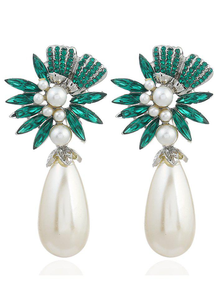 Pair of Floral Shape Rhinestone Artificial Pearl Earrings - GREEN