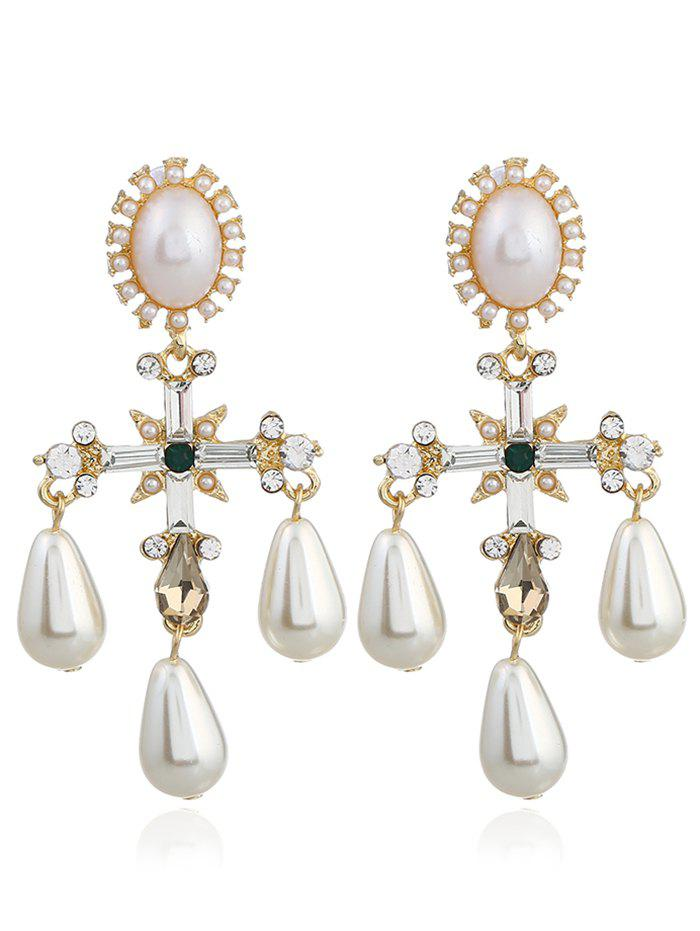 Pair of Libra Faux Pearl Decorated Drop Earrings pair of delicate faux pearl rhinestone sector earrings for women