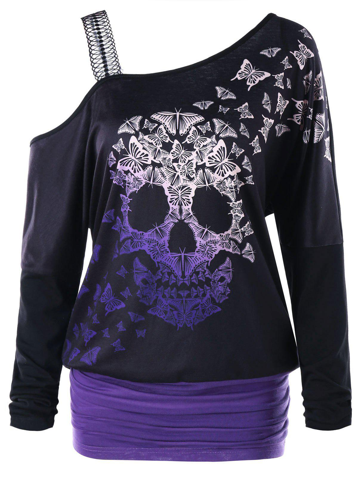 Skull Butterfly Pattern Skew Collar Top - BLACK M