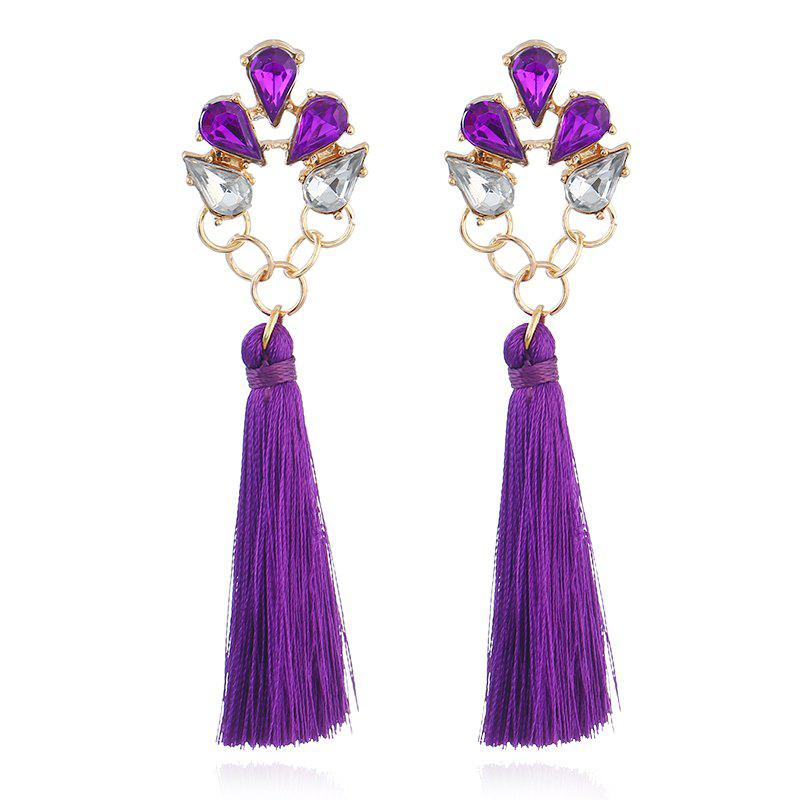 Faux Crystal Loop Tassel Boho Drop Earrings - PURPLE