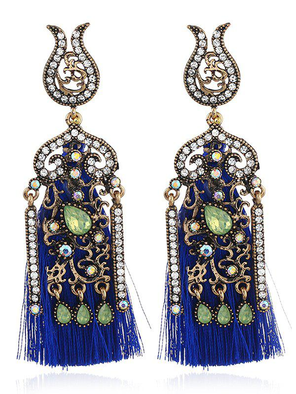 Pair of Bohemian Style Rhinestone Fringed Drop Earrings - BLUE