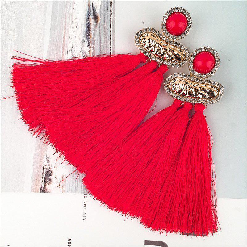 Geometric Hammered Metal Fringed Stud Drop Earrings - RED