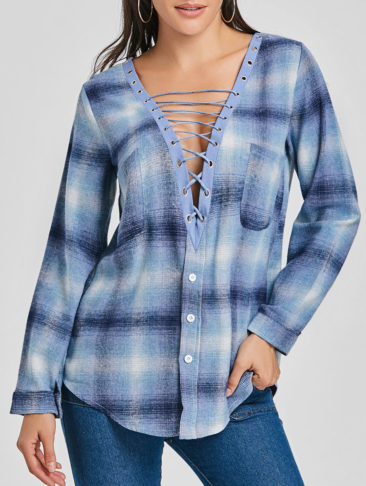 Lace Up Plunge Plaid Shirt - BLUE L