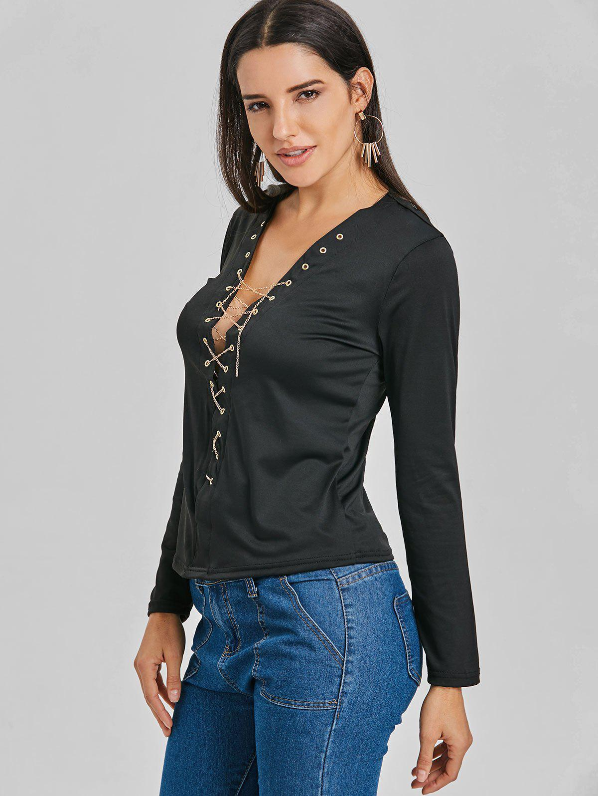 Long Sleeve Lace Up Chain Top - BLACK XL
