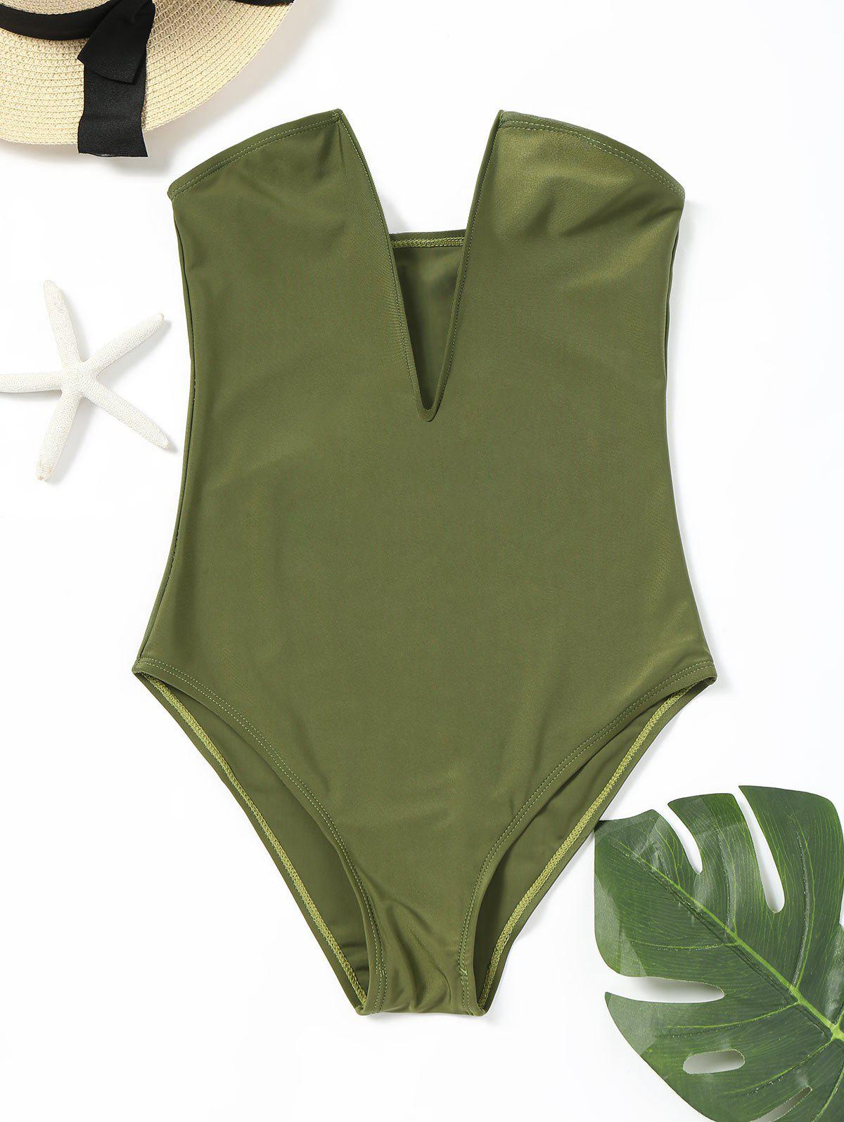 Plunge High Leg Bandeau One Piece Bathing Suit nsa professional one piece triangle competition training swimsuit waterproof chlorine resistant women s swimwear bathing suit