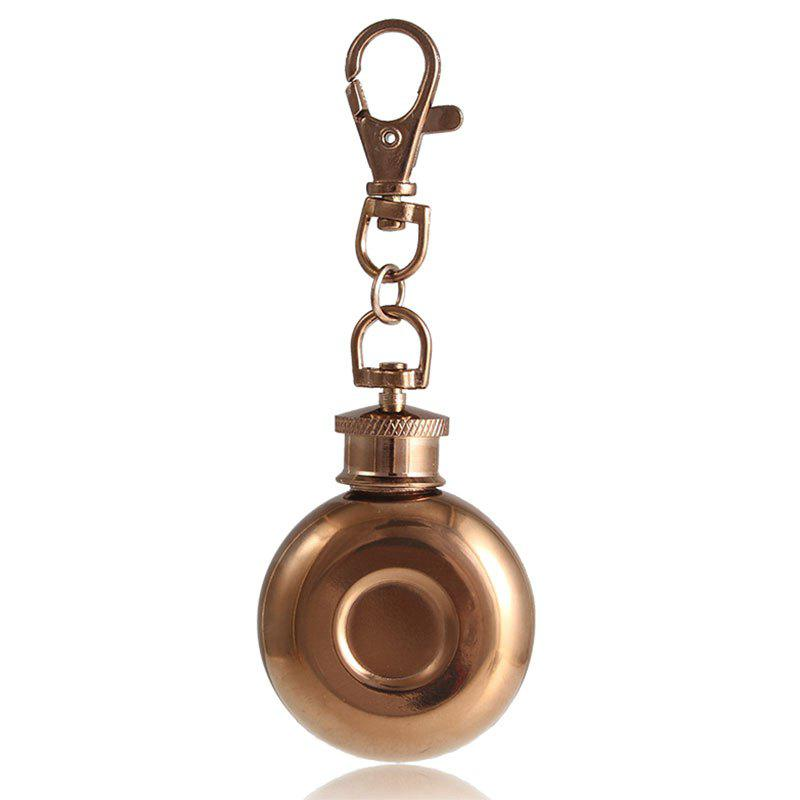 Mini 1oz Stainless Steel Keychain Hip Flask - COPPER COLOR